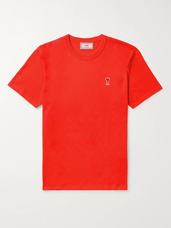 AMI Slim-Fit Logo-Appliquéd Cotton-Jersey T-Shirt