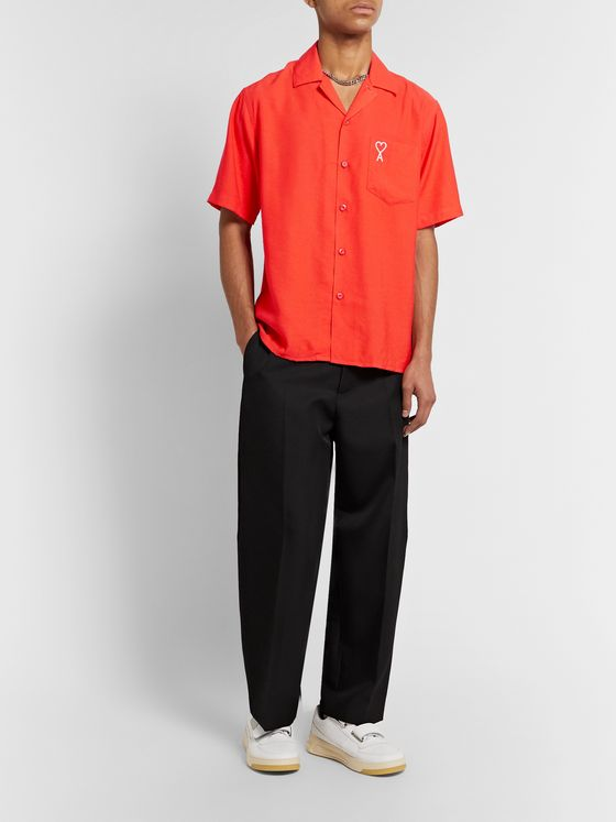 AMI Camp-Collar Logo-Embroidered Woven Shirt
