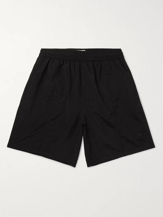 AMI Slim-Fit Mid-Length Logo-Appliquéd Swim Shorts