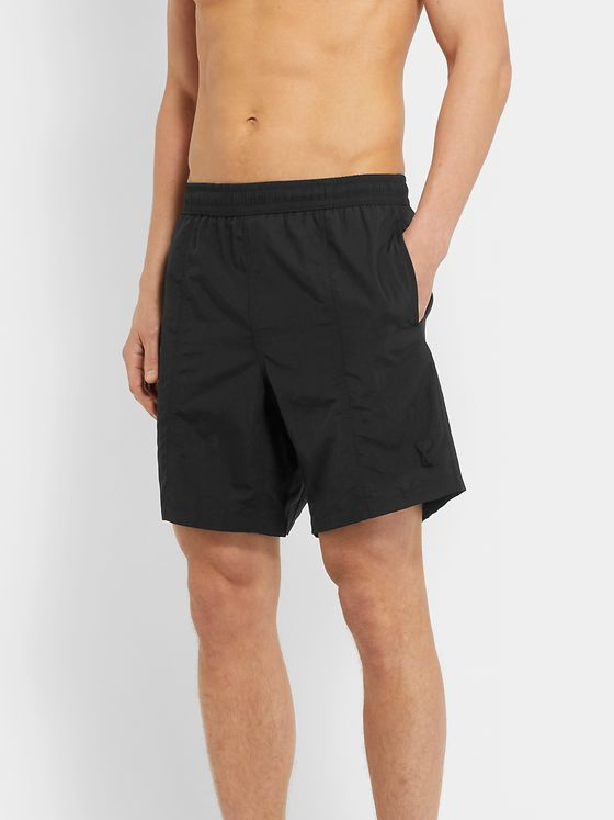AMI PARIS Slim-Fit Mid-Length Logo-Appliquéd Swim Shorts