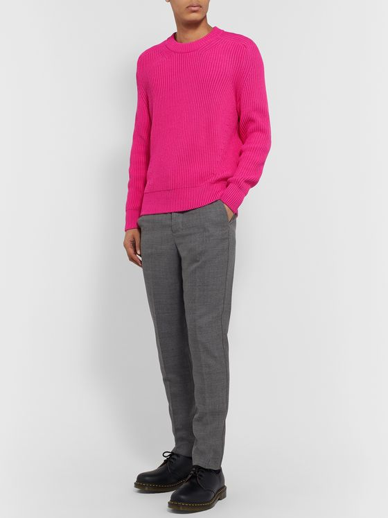 AMI Ribbed Cotton-Blend Sweater