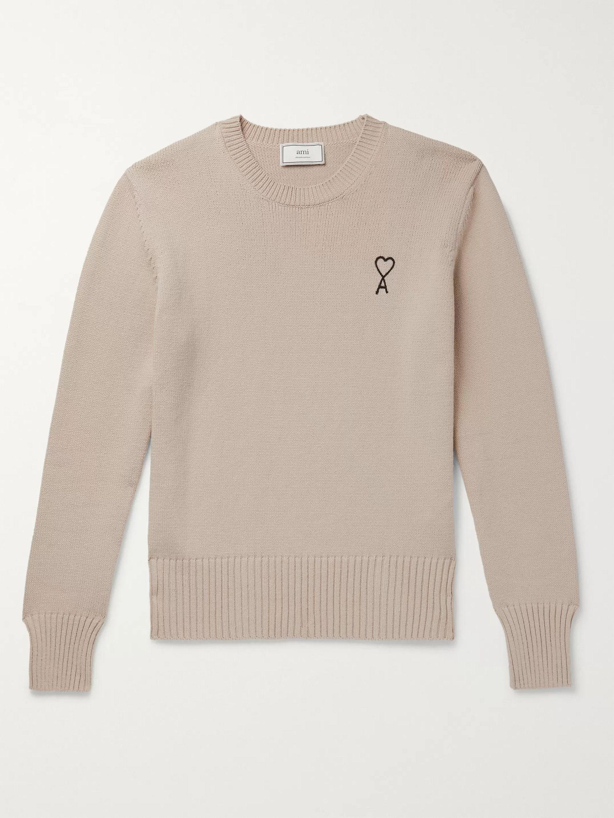 AMI Beige Logo-Embroidered Cotton-Blend Sweater,Beige
