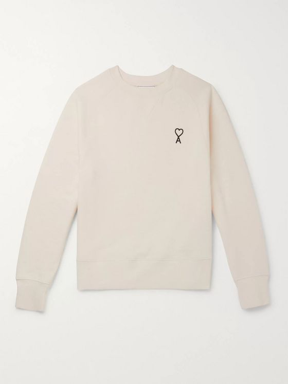 AMI Logo-Embroidered Fleece-Back Cotton-Jersey Sweatshirt