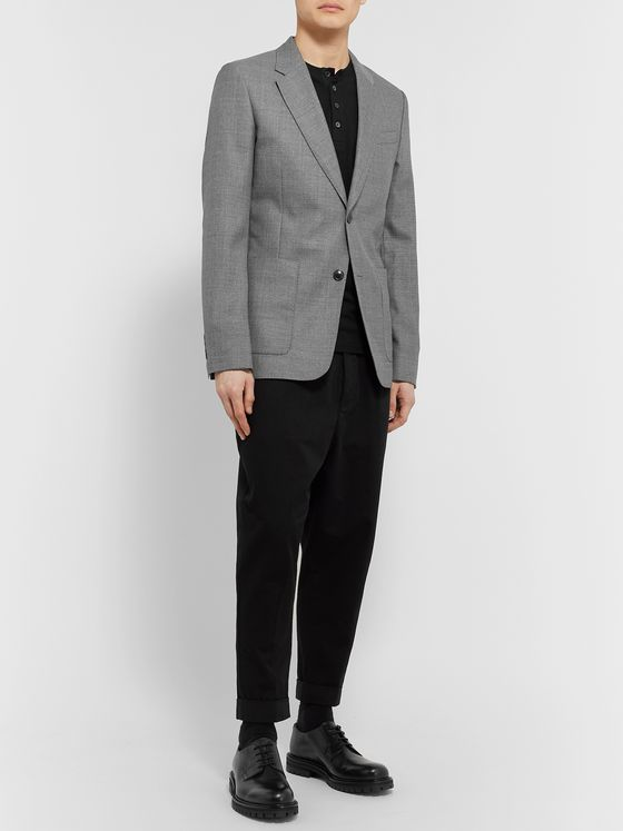 AMI Grey Slim-Fit Virgin Wool Suit Jacket