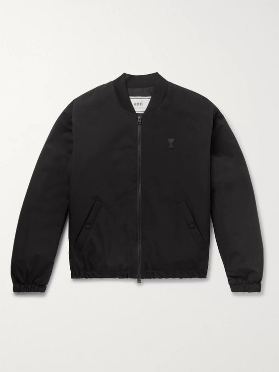 AMI Slim-Fit Logo-Appliquéd Shell Bomber Jacket