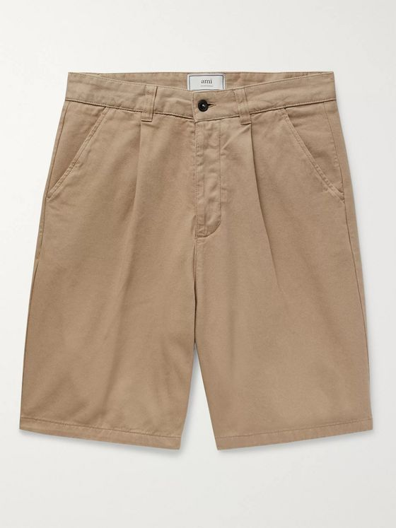 AMI Pleated Cotton-Twill Bermuda Shorts
