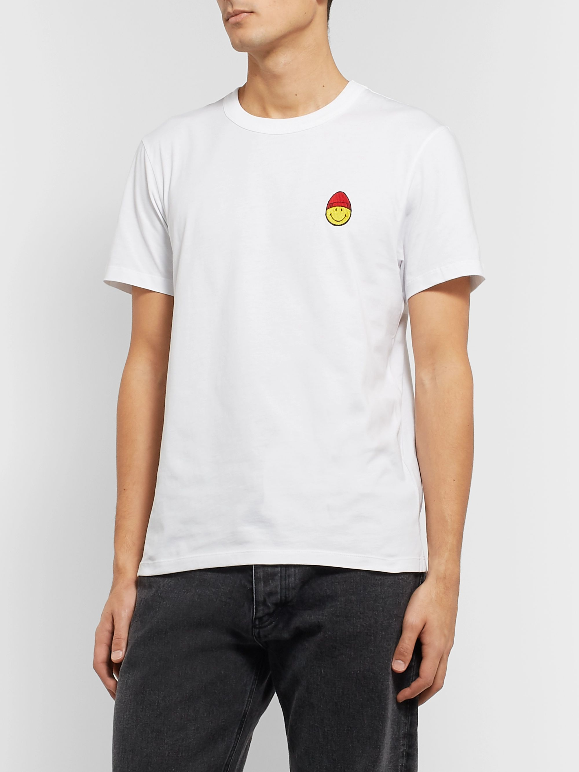 AMI + The Smiley Company Logo-Appliquéd Cotton-Jersey T-Shirt