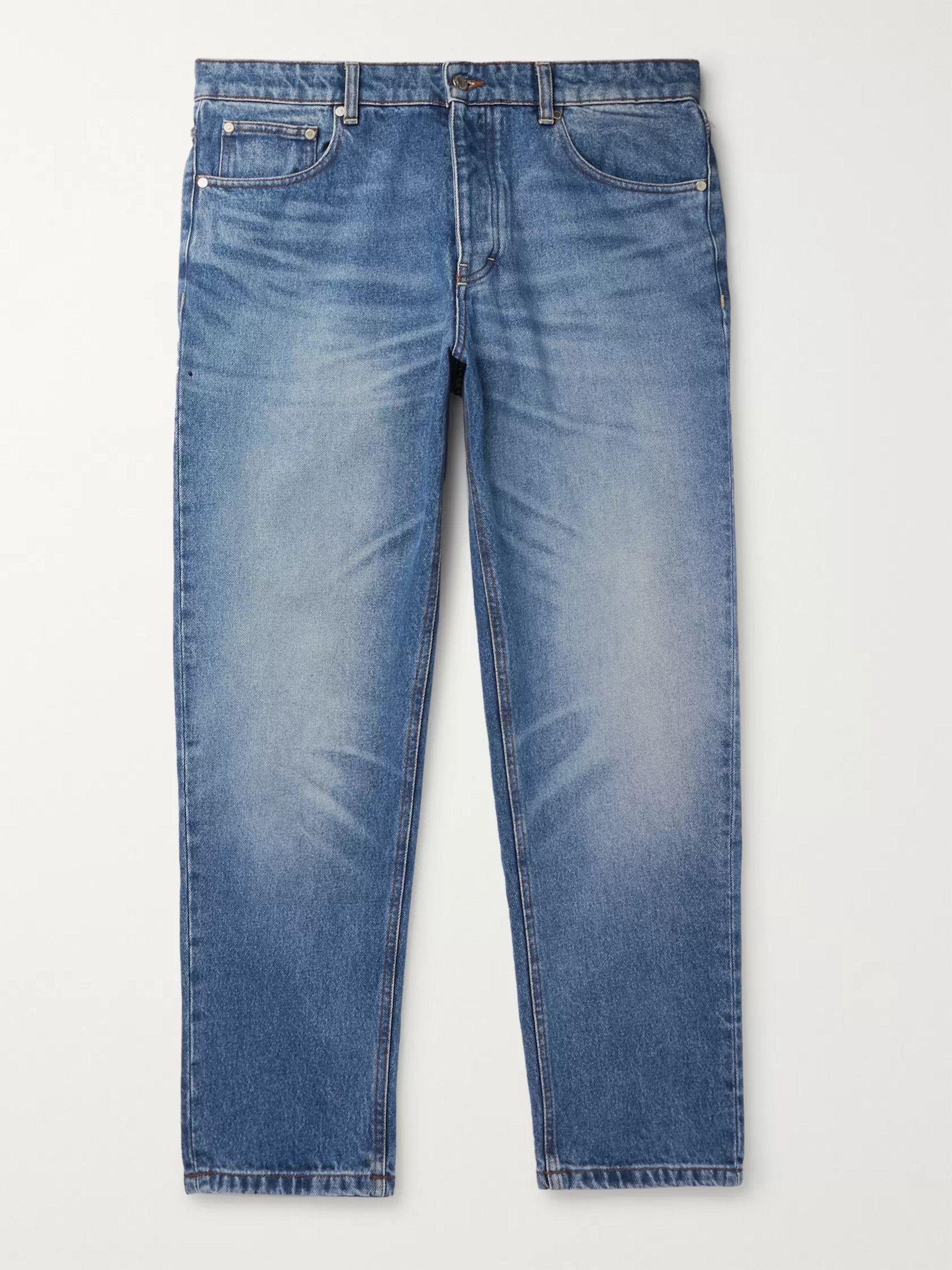 AMI Blue Tapered Denim Jeans,Blue