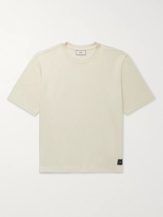 AMI Logo-Appliquéd Cotton-Jersey T-Shirt