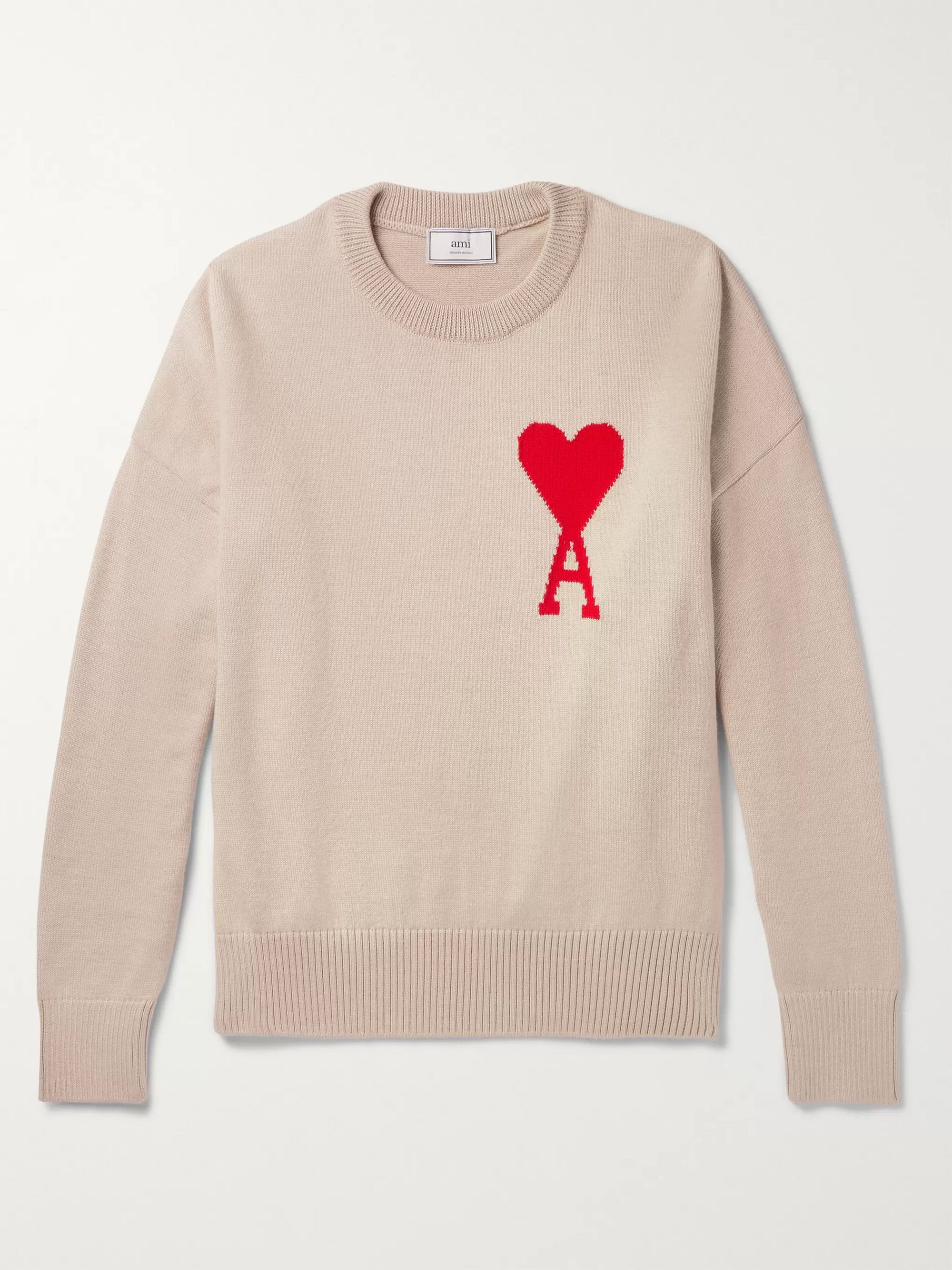 AMI Beige Logo-Intarsia Merino Wool Sweater,Beige