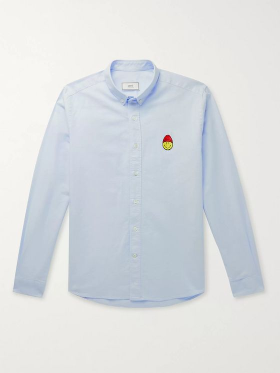 AMI + The Smiley Company Button-Down Collar Logo-Appliquéd Cotton Oxford Shirt