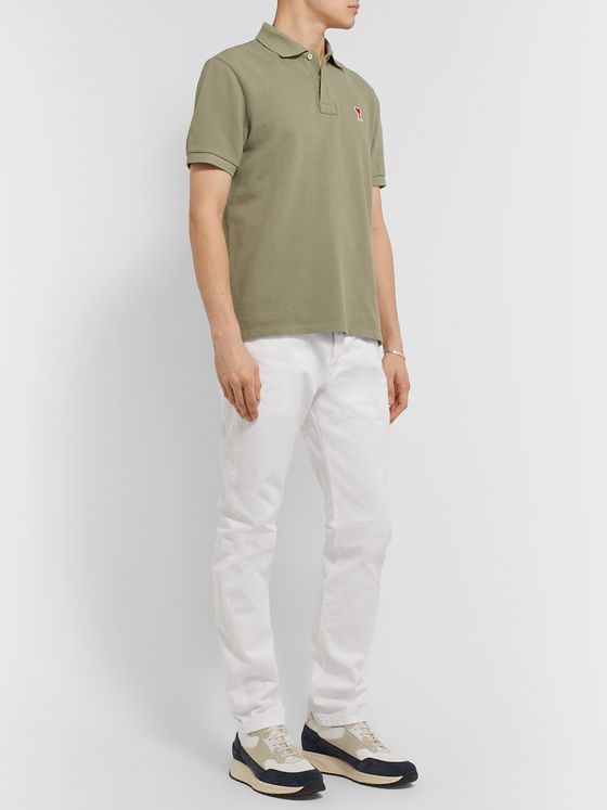 AMI Slim-Fit Logo-Appliquéd Cotton-Piqué Polo Shirt