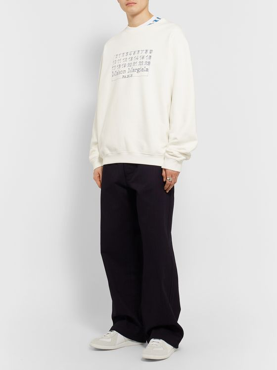 Maison Margiela Logo-Embroidered Loopback Cotton-Jersey Sweatshirt