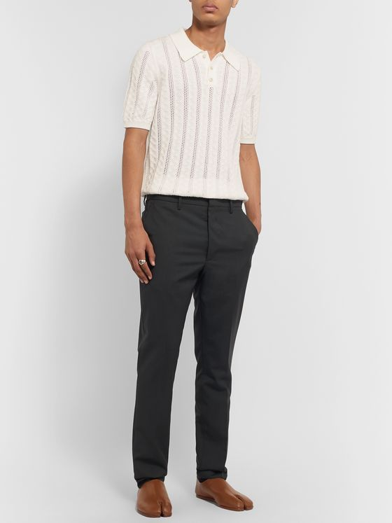Maison Margiela Ace Open-Knit Cotton Polo Shirt