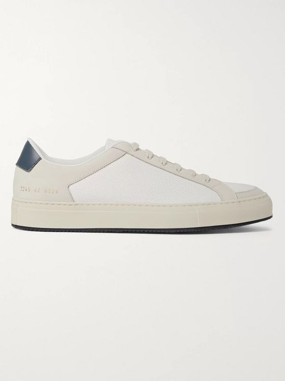 Common Projects Retro '70s Perforated Leather and Nubuck Sneakers