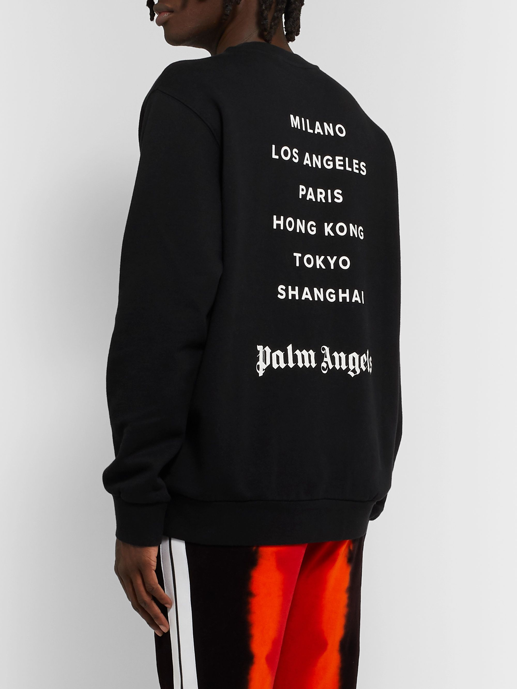 Palm Angels Logo-Print Loopback Cotton-Jersey Sweatshirt