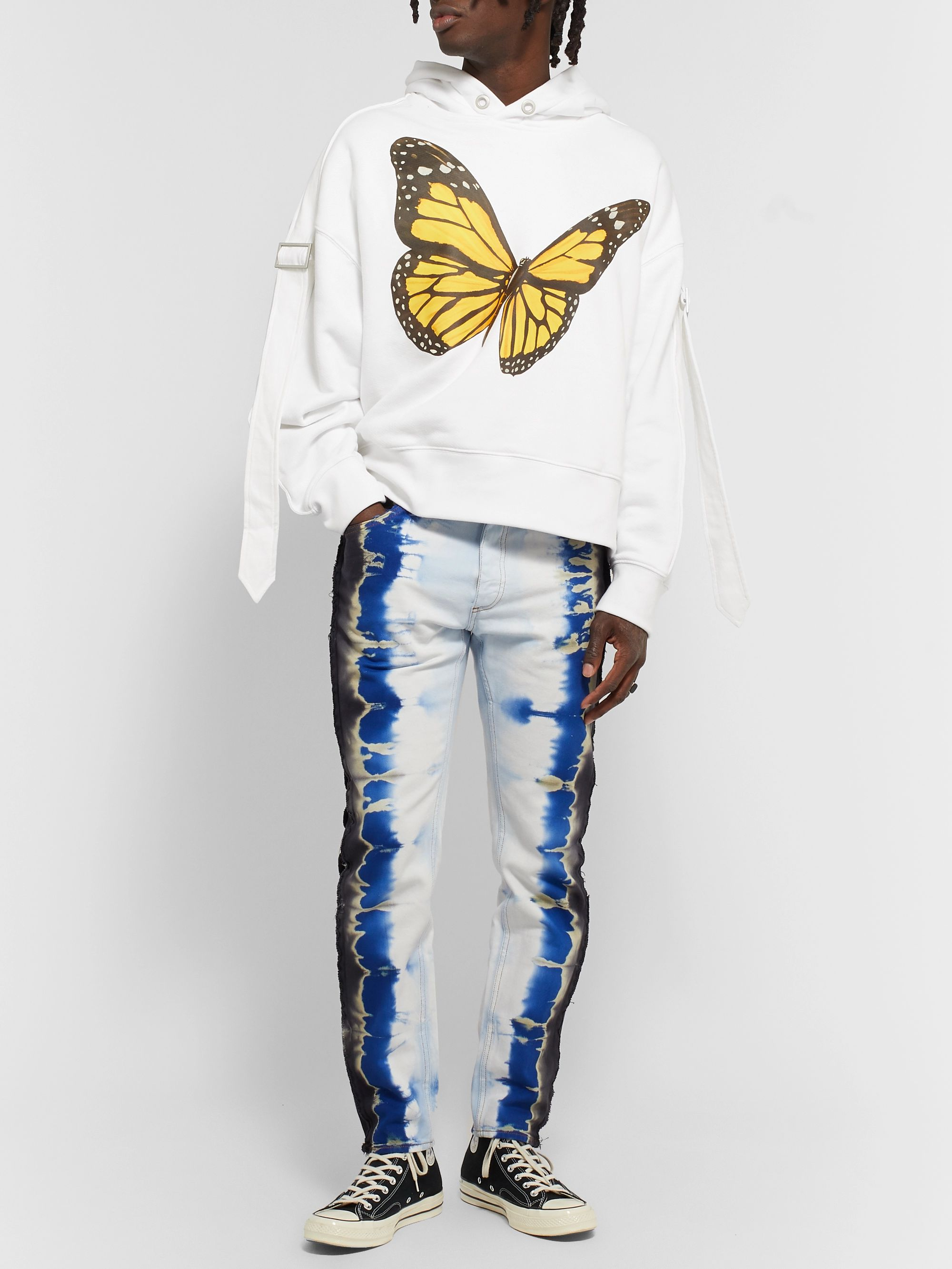 Palm Angels Slim-Fit Distressed Tie-Dyed Denim Jeans
