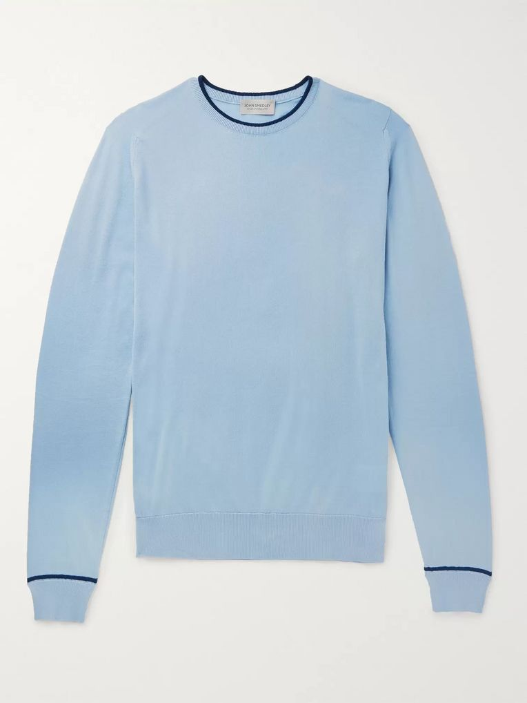 John Smedley Astin Contrast-Tipped Sea Island Cotton Sweater