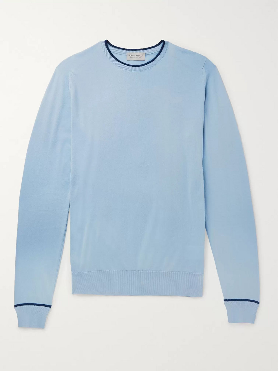 John Smedley Contrast-Tipped Sea Island Cotton Sweater