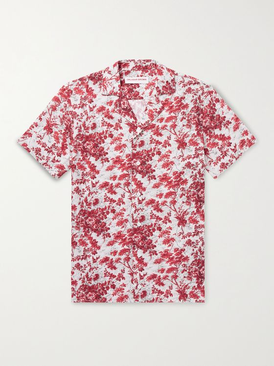 ORLEBAR BROWN Travis Camp-Collar Floral-Print Woven Shirt