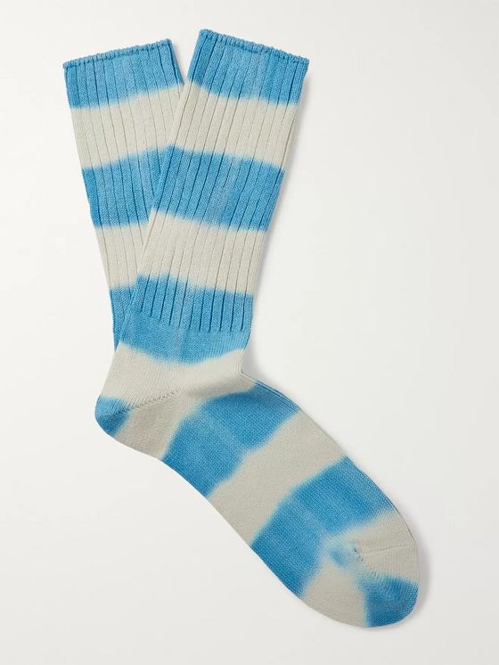 Mr P. Ribbed Striped Cotton-Blend Socks