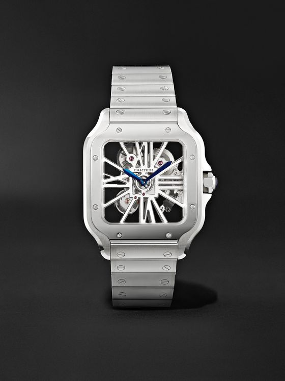 CARTIER Santos de Cartier Skeleton Hand-Wound 39.8mm Interchangeable Stainless Steel and Alligator Watch