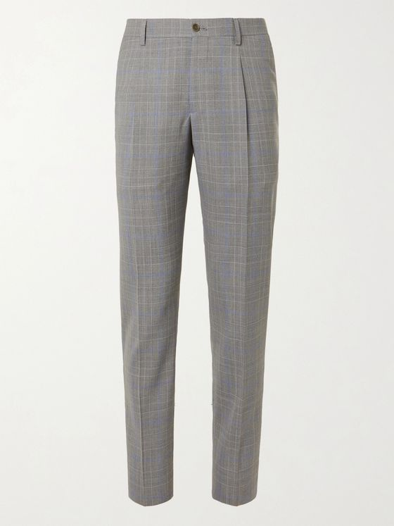 GIORGIO ARMANI Prince of Wales Checked Wool Suit Trousers