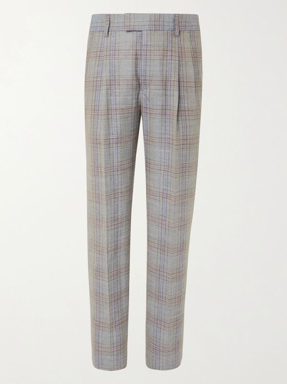 GIORGIO ARMANI Pleated Prince of Wales Wool and Silk-Blend Suit Trousers