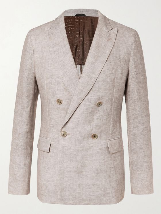 GIORGIO ARMANI Double-Breasted Mélange Linen Suit Jacket