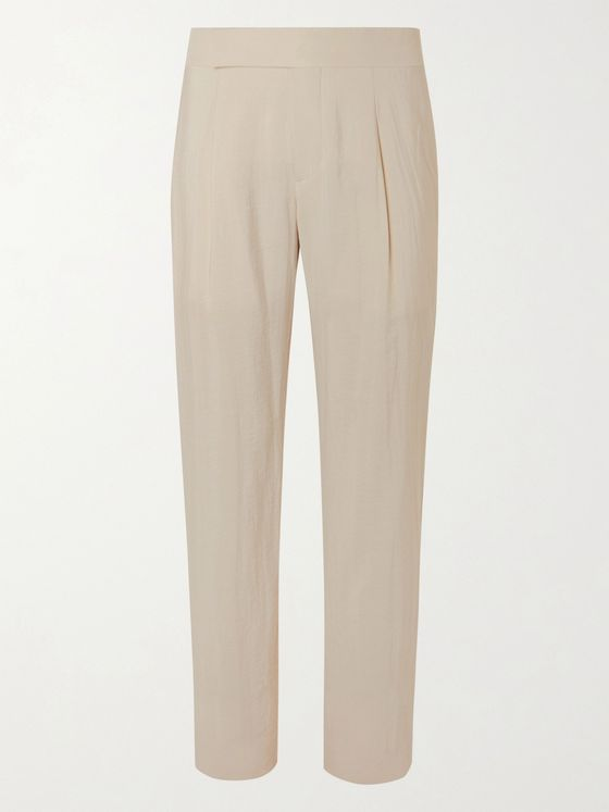 GIORGIO ARMANI Pleated Silk-Blend Suit Trousers