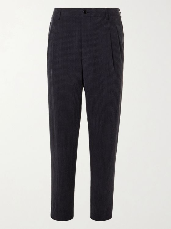 GIORGIO ARMANI Pleated Herringbone-Jacquard Trousers