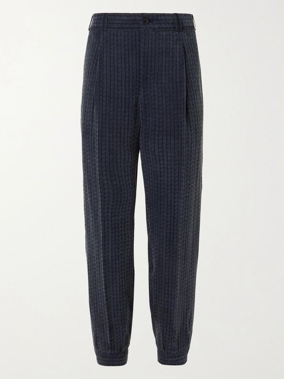 GIORGIO ARMANI Wide-Leg Cropped Pleated Jacquard Trousers
