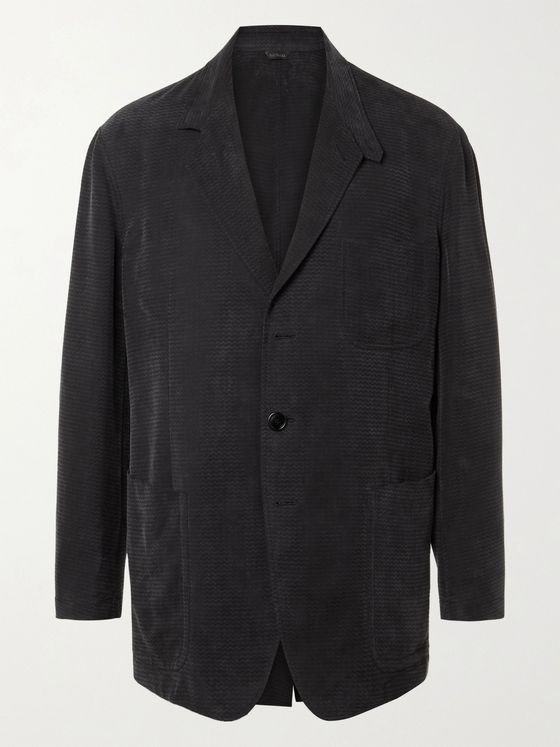 GIORGIO ARMANI Unstructured Herringbone-Jacquard Suit Jacket