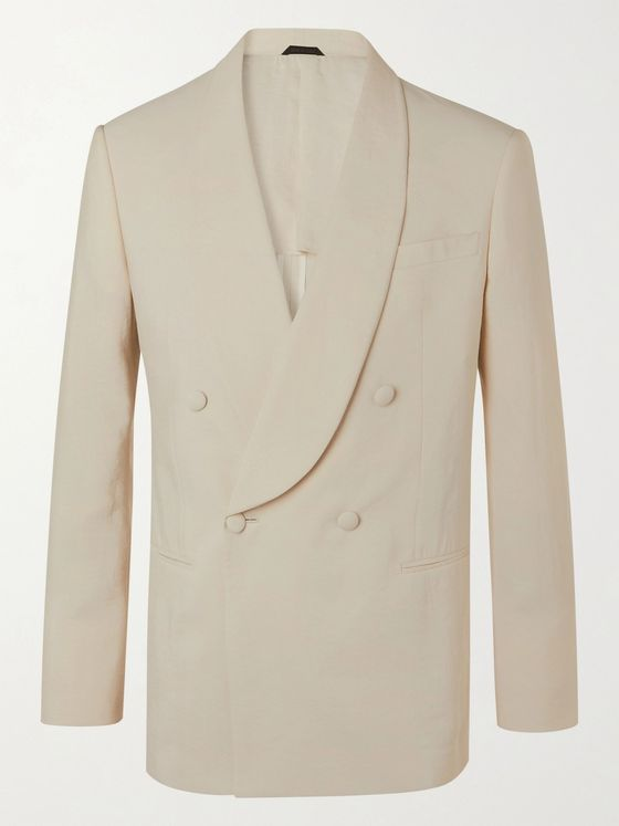 GIORGIO ARMANI Double-Breasted Silk-Blend Suit Jacket