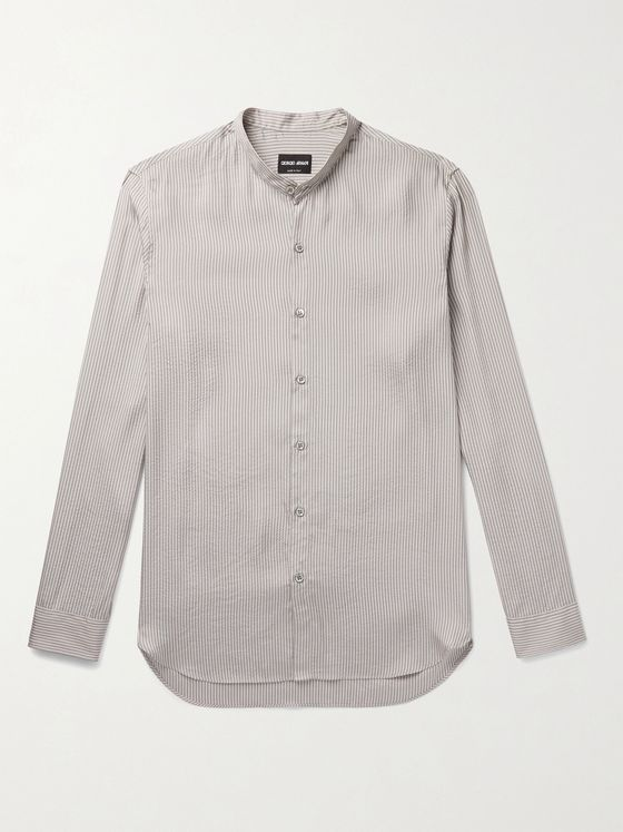 GIORGIO ARMANI Grandad-Collar Striped Cotton and Silk-Blend Seersucker Shirt