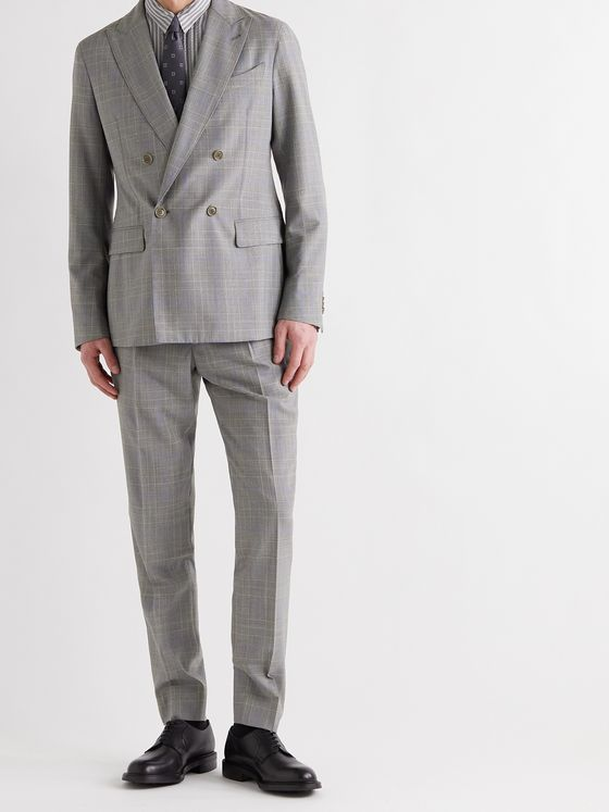 GIORGIO ARMANI Slim-Fit Double-Breasted Prince Of Wales Checked Wool Suit Jacket