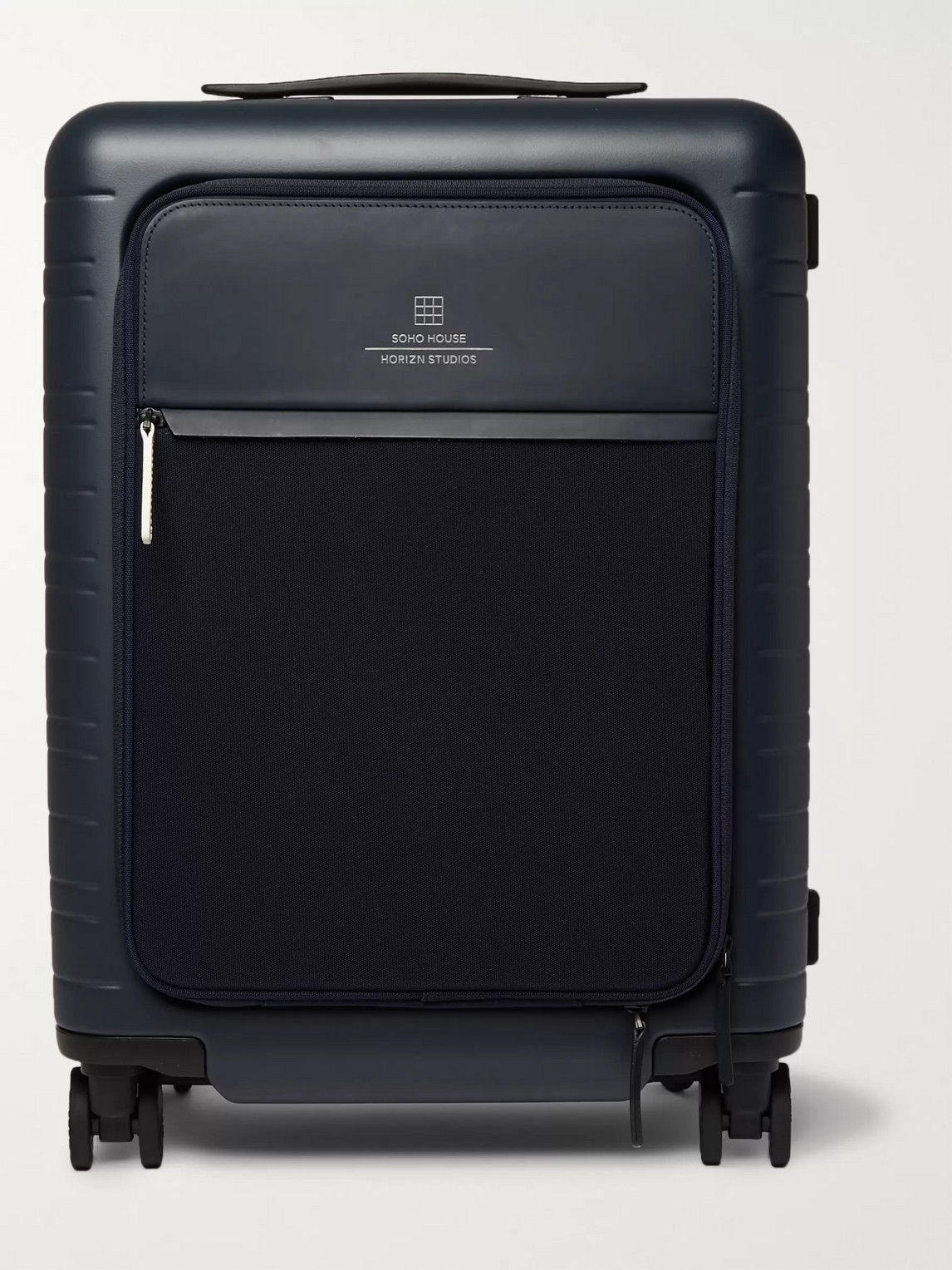 Horizn Studios Soho House M5 Leather-trimmed Polycarbonate And Nylon Suitcase In Blue