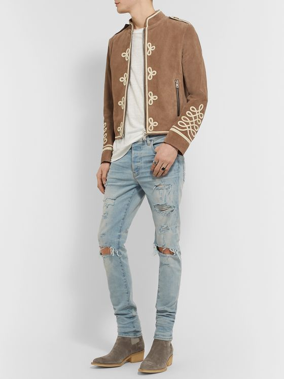 AMIRI Rope-Trimmed Leather Jacket