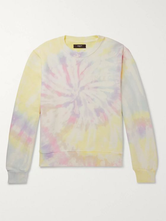 AMIRI Logo-Flocked Tie-Dyed Loopback Cotton-Jersey Sweatshirt