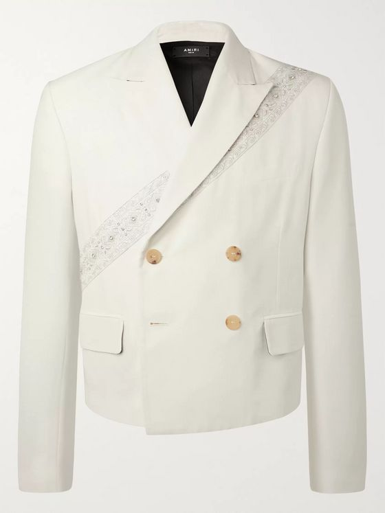 AMIRI Embellished Double-Breasted Woven Blazer