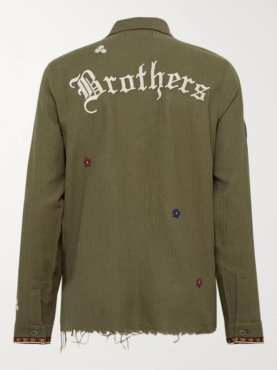 AMIRI Camp-Collar Embellished Herringbone Cotton and Cashmere-Blend Shirt