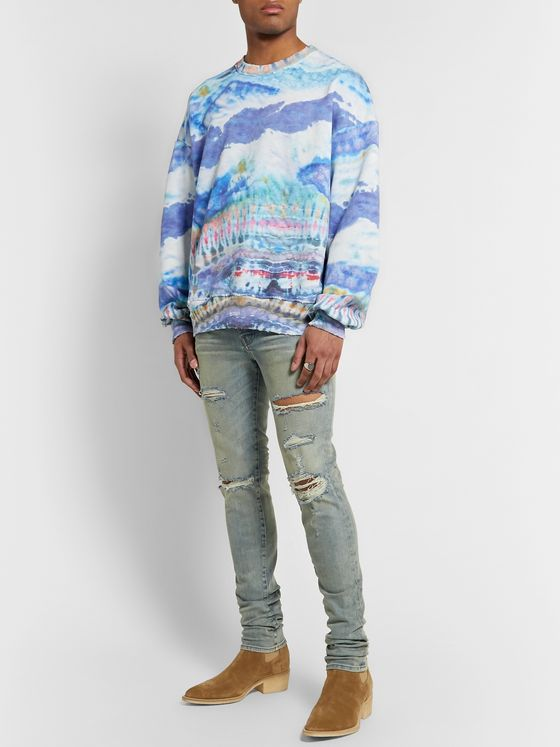 AMIRI Tie-Dyed Loopback Cotton-Jersey Sweatshirt