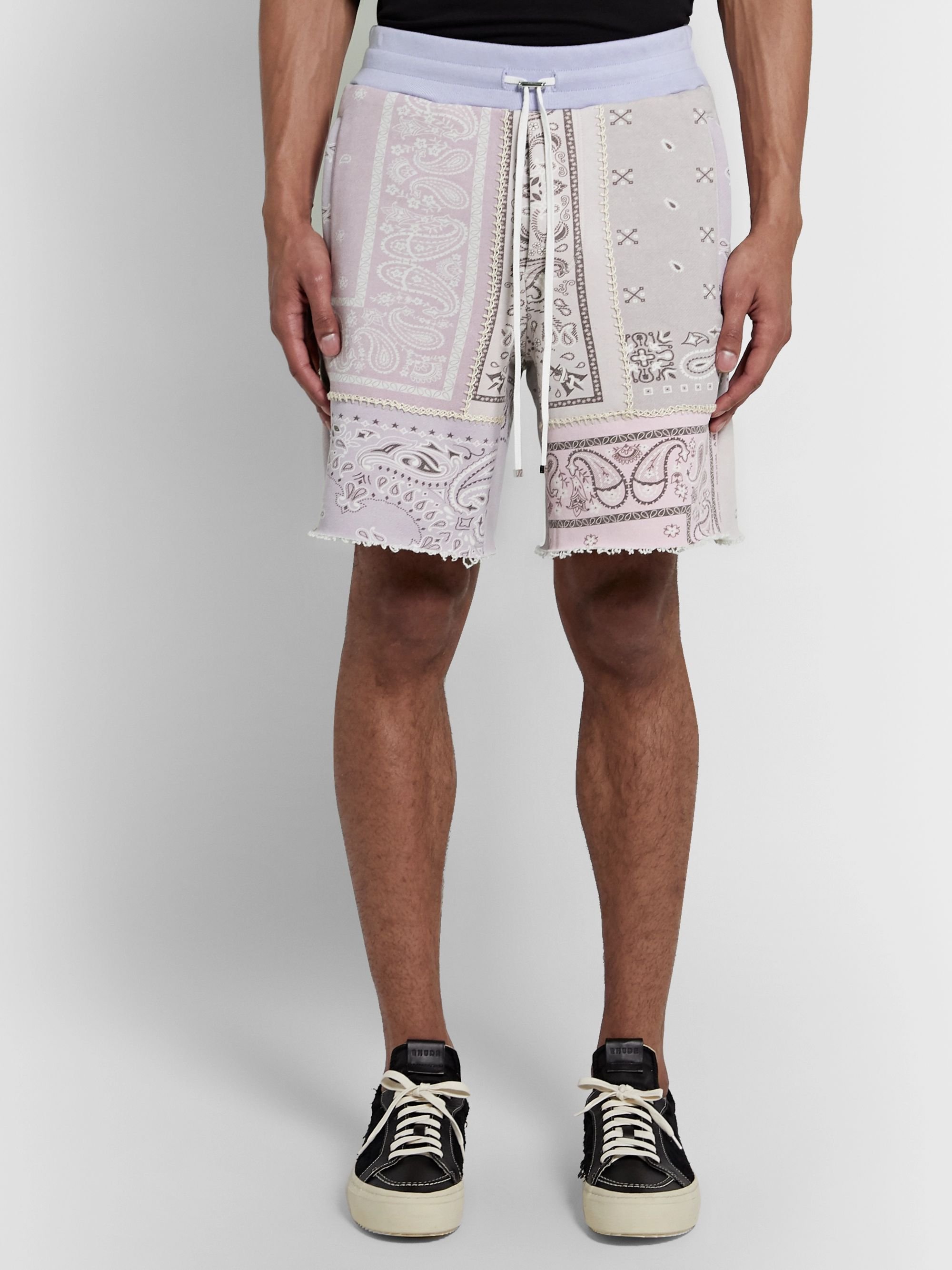 AMIRI Wide-Leg Bandana-Print Loopback Cotton-Jersey Drawstring Shorts