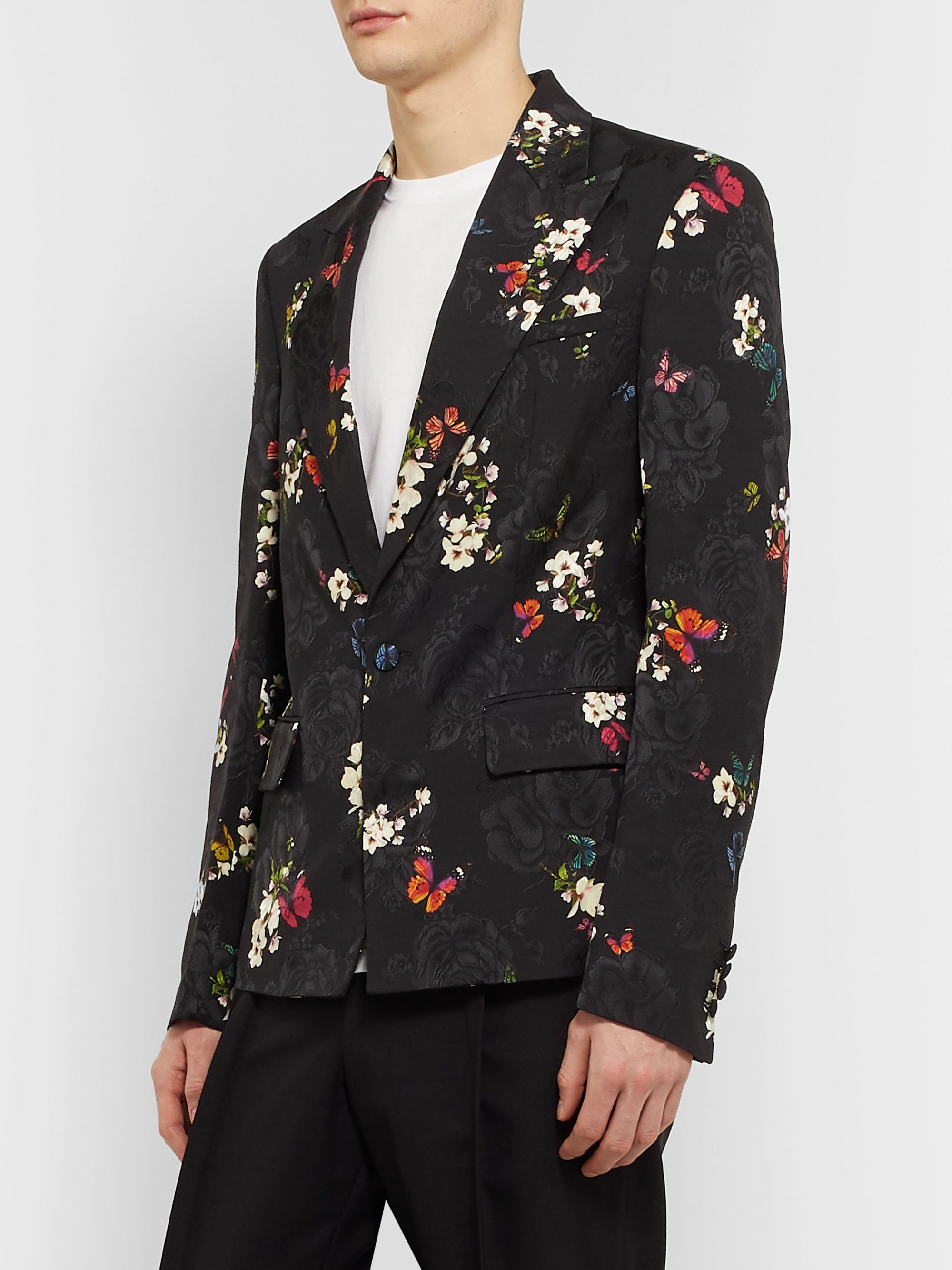 AMIRI Black Slim-Fit Printed Floral-Jacquard Suit Jacket