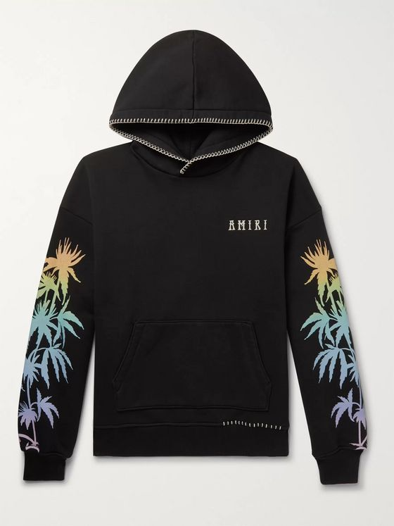 AMIRI Oversized Embroidered Printed Cotton-Jersey Hoodie