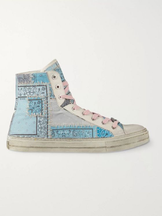 AMIRI Distressed Bandana-Print Canvas High-Top Sneakers