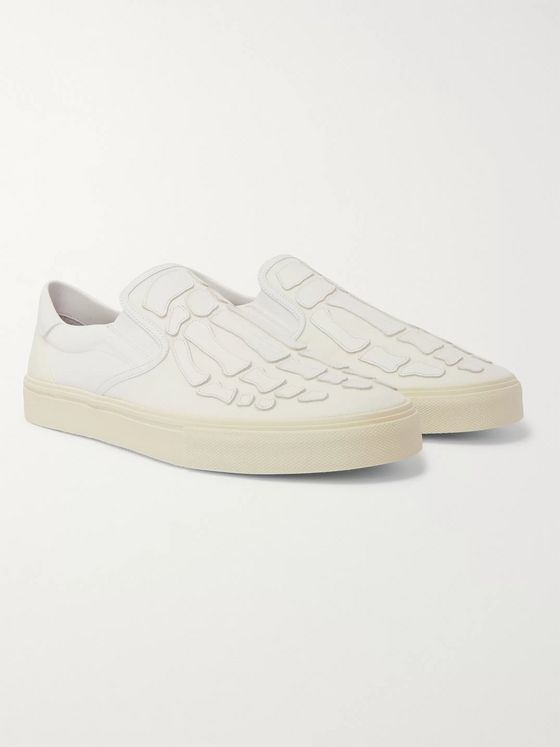 AMIRI Skel Toe Leather-Appliquéd Corduroy and Canvas Slip-On Sneakers