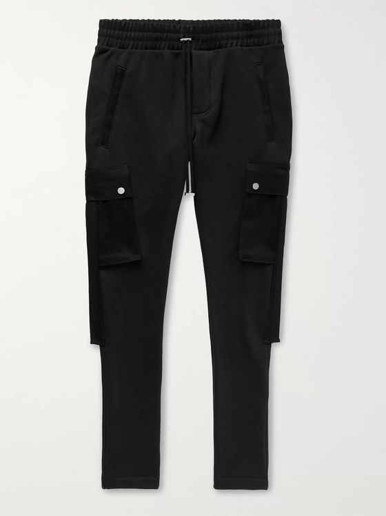 AMIRI Slim-Fit Tapered Twill-Trimmed Loopback Cotton-Jersey Cargo Sweatpants