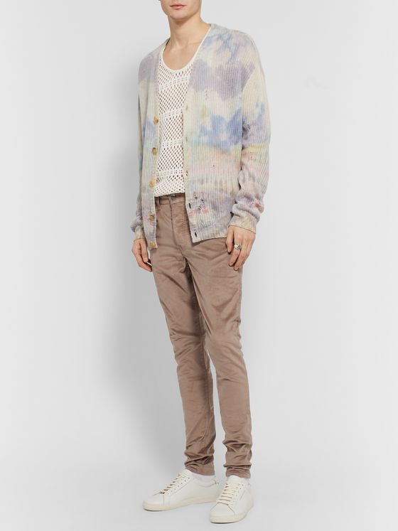 AMIRI Stack Skinny-Fit Cotton-Blend Velvet Trousers
