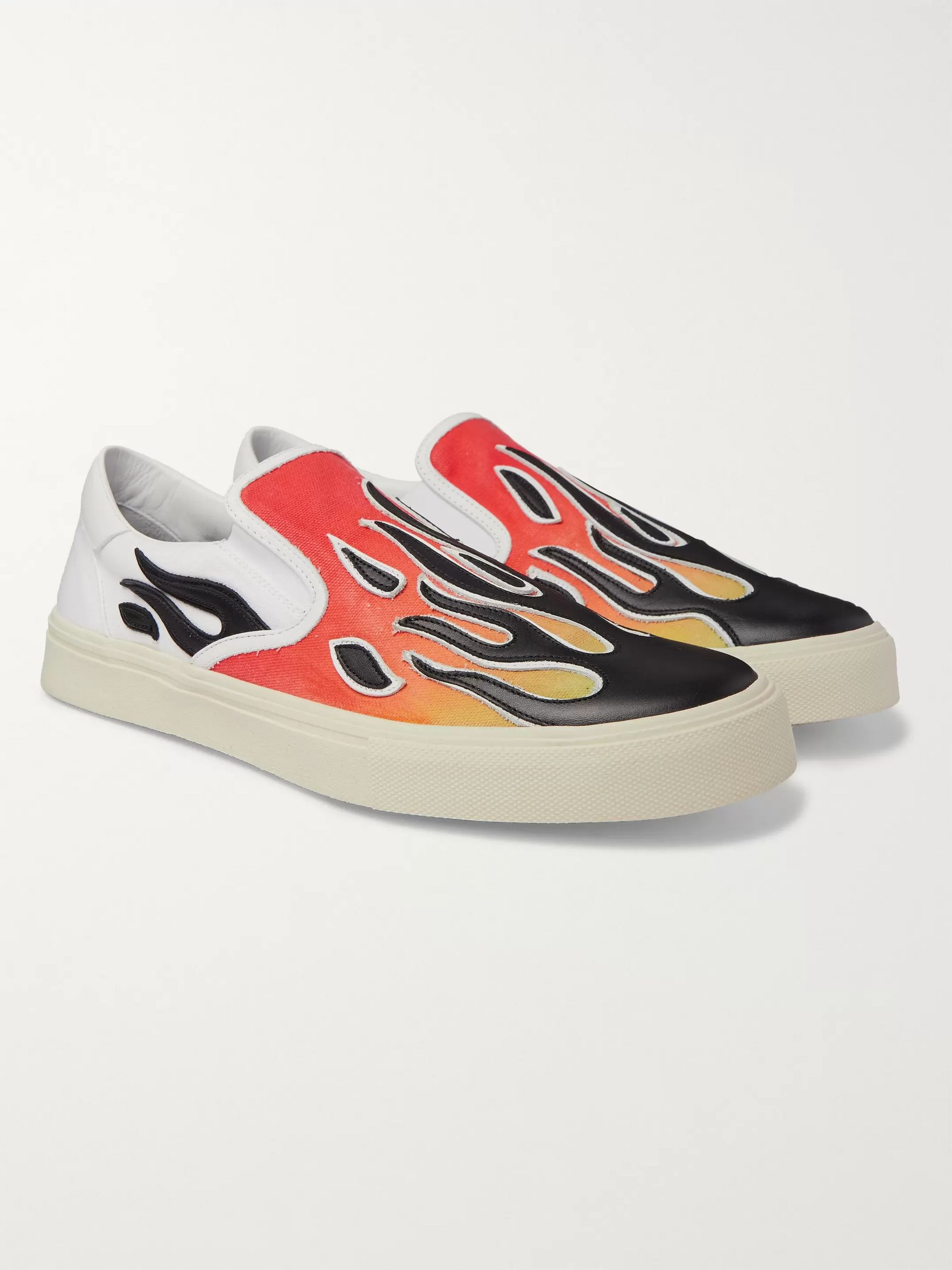 AMIRI Flame Leather-Appliquéd Canvas Slip-On Sneakers